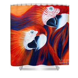 Two Parrots. Inspirations Collection. Shower Curtain by Oksana Semenchenko