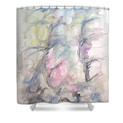 Two Trees In The Wind Shower Curtain