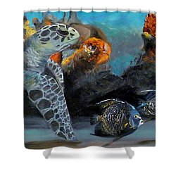 Shower Curtain featuring the painting Underwater Beauty by Donna Tuten