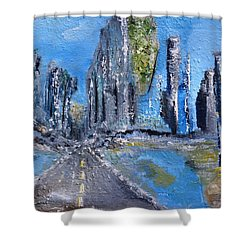 Shower Curtain featuring the painting Urban by Evelina Popilian