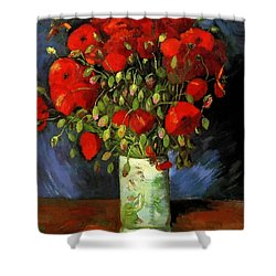 Vase With Red Poppies Shower Curtain