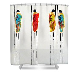 Vibrant Masai Warriors - Original Artwork Shower Curtain