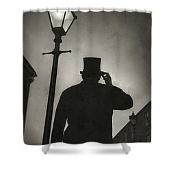 Victorian Man With Top Hat Under A Gas Lamp Shower Curtain by Lee Avison