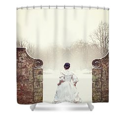 Victorian Woman In Snow Shower Curtain by Lee Avison