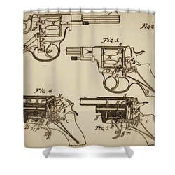 Vintage Colt Revolver Drawing  Shower Curtain by Nenad Cerovic