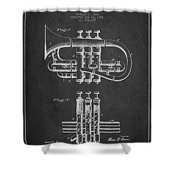 Cornet Patent Drawing From 1901 - Dark Shower Curtain by Aged Pixel