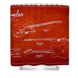 Vintage Fender Guitar Patent Drawing From 1951 Shower Curtain by Aged Pixel