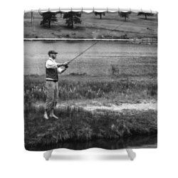 Shower Curtain featuring the photograph Vintage Fly Fishing by Ron White