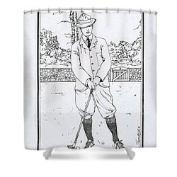 Vintage Golfer Shower Curtain by Ira Shander