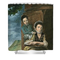 Shower Curtain featuring the painting Vintage Mother And Son by Mary Ellen Anderson