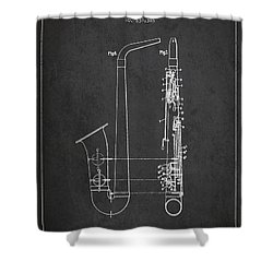 Saxophone Patent Drawing From 1899 - Dark Shower Curtain by Aged Pixel