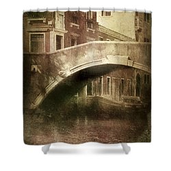 Vintage Shot Of Venetian Canal, Venice Shower Curtain by Evgeny Kuklev