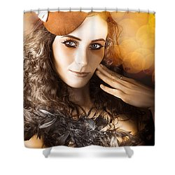 Vintage Style Actress Performing In French Beret Shower Curtain by Jorgo Photography - Wall Art Gallery