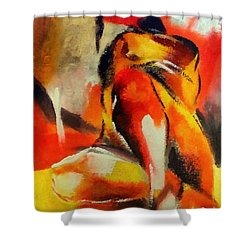 Shower Curtain featuring the painting Waiting by Dragica  Micki Fortuna