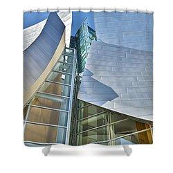 Walt Disney Concert Hall Vertical Los Angeles Ca Shower Curtain by David Zanzinger