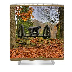 Shower Curtain featuring the photograph War Thunder - The Charlotte North Carolina Artillery Grahams Battery West Confederate Ave Gettysburg by Michael Mazaika