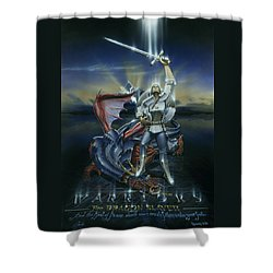 Warriors Dragon Slayer Shower Curtain by Cliff Hawley