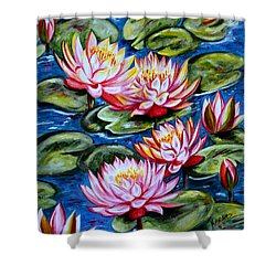 Shower Curtain featuring the painting Water Lilies by Harsh Malik