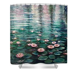 Water Lilies Shower Curtain by Laila Awad Jamaleldin