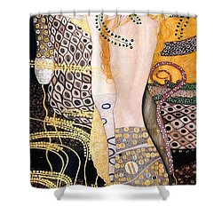 Water Serpents I Shower Curtain by Gustav Klimt