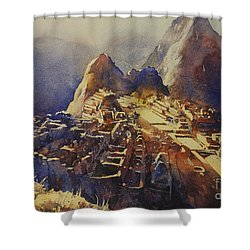 Watercolor Painting Machu Picchu Peru Shower Curtain