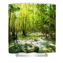 Waterfall In Rainforest Shower Curtain