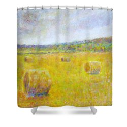 Wheat Bales At Harvest Shower Curtain