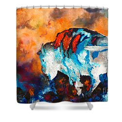 White Buffalo Ghost Shower Curtain by Karen Kennedy Chatham