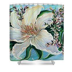Shower Curtain featuring the painting White Lily by Yolanda Rodriguez