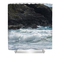 White Surf Shower Curtain by Brian Roscorla