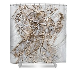 White With Gold Shower Curtain