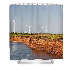 Wind Turbines On Atlantic Coast Shower Curtain by Elena Elisseeva