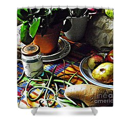 Window Table In Harlem Shower Curtain by Sarah Loft