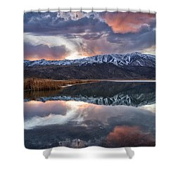 Winter Sunset Shower Curtain by Cat Connor