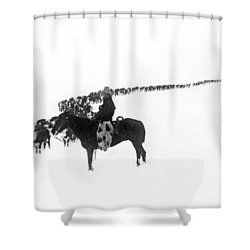 Wintertime Cattle Drive Shower Curtain