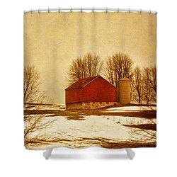 Wisconsin Barn In Winter Shower Curtain by Jill Battaglia