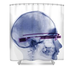Woman Wearing Google Glass X-ray Shower Curtain by Ted Kinsman