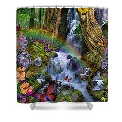 Woodland Forest Fairyland Shower Curtain by Alixandra Mullins