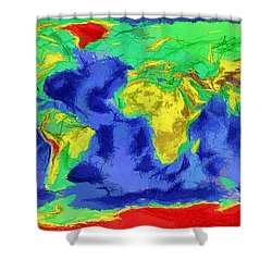 World Map Art Shower Curtain