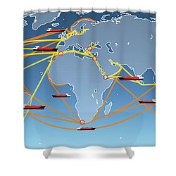 World Shipping Routes Map Shower Curtain