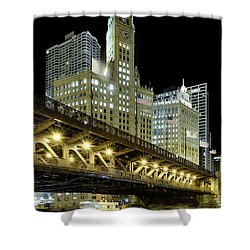 Wrigley Building At Night Shower Curtain