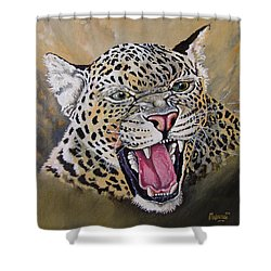 Shower Curtain featuring the painting Yawn by Anthony Mwangi