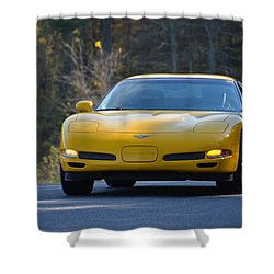 Yellow Corvette Shower Curtain
