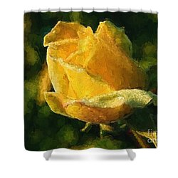 Yellow Rose In Watercolor Shower Curtain