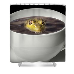 Yikes There Is A Frog In My Java Shower Curtain by Randall Nyhof