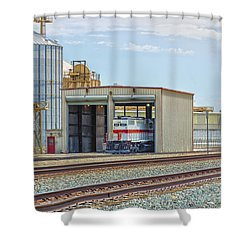 Foster Farms Locomotives Shower Curtain by Jim Thompson
