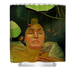 Shower Curtain featuring the painting 10 30 A.m. by Thu Nguyen
