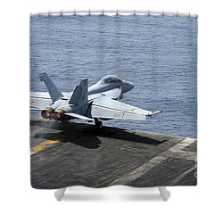An Fa-18f Super Hornet Launches Shower Curtain by Stocktrek Images