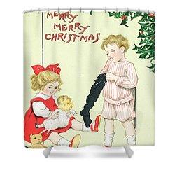 Christmas Card Shower Curtain by English School