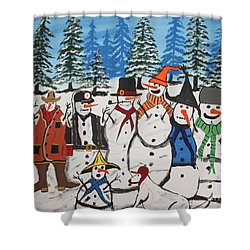 10 Christmas Snowmen  Shower Curtain by Jeffrey Koss